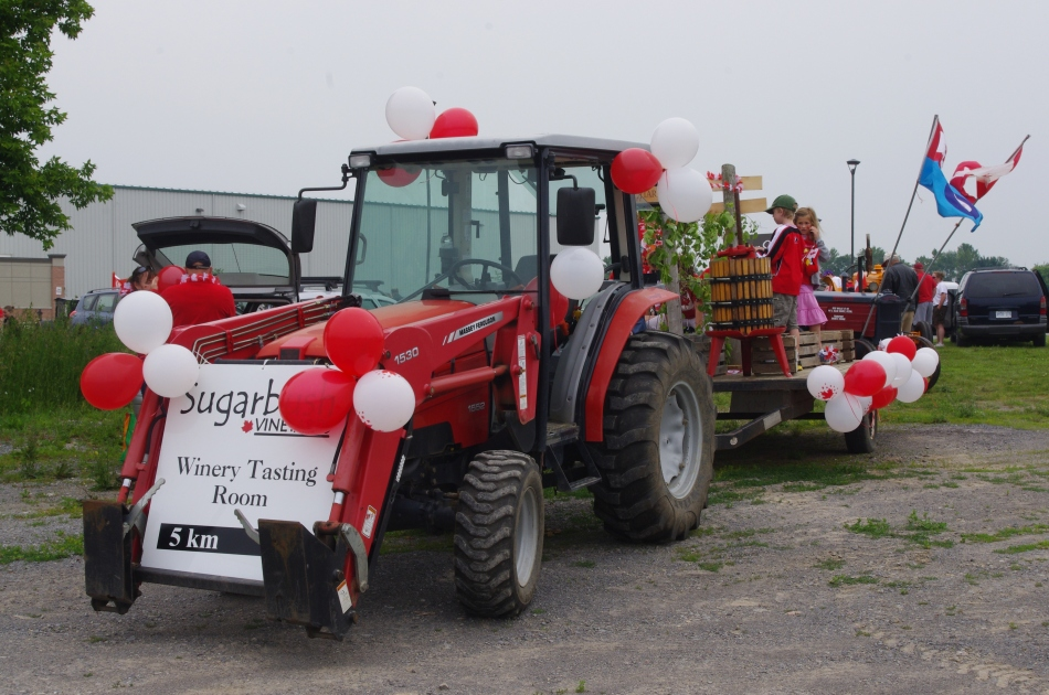 Sugarbush Vineyards teamed up with Broken Stone winery to build a float for Canada Day